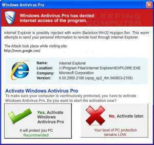 Ejemplo de web tratando de engañar al usuario para que instale malware